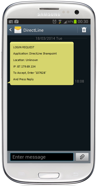 SMS Push Notification for Out of Band Authentication (OOBA)